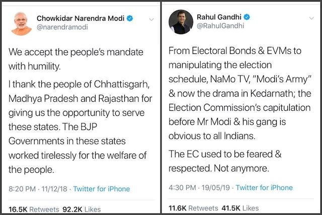 Modi and Rahul in India